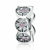 Genuine Authentic 925 Sterling Silver PINK CZ Floiwer Spacer Charm Fit Bracelet