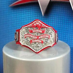 📺 NEW! NWA Custom Red Television Title Belt Elite Figure Lot WWE Mattel Jakks