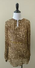 WALTER BAKER Cheetah Print Long Sleeve Sheer 'Gabriela' Blouse XS FASHION HAVEN