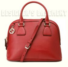 GUCCI red leather Medium DOME gold GG CHARM convertible crossbody bag NWT Authen