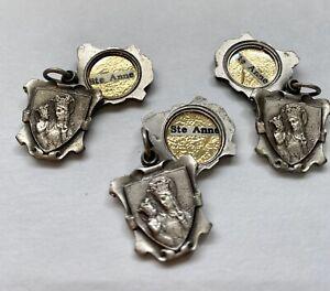 3 Vintage Souvenir Reliquary St. Anne de Beaupre Relic Slide Medals France