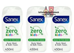 Sanex ZERO 0% KIDS Head to Toe Wash Bodywash & Bath Foam 450ml - 3 Pack