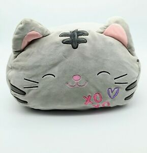 """Squishmallows Stackable TALLY Gray Cat Kitten Plush 12"""" wide x 8"""" tall"""