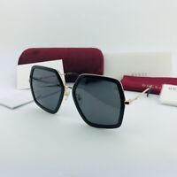 New GUCCI GG0106S 001 Gold Black Gray Sunglasses Eyewear Women Square