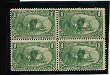 Us Scott #285 mint never hinged 1c green 1898 Trans Miss. block of 4 og f/vf