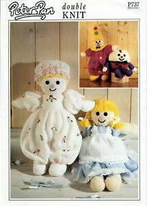 Peter Pan - Dolls, Clown and Humpty Dumpty Knitting Pattern. P737. Double Knit.