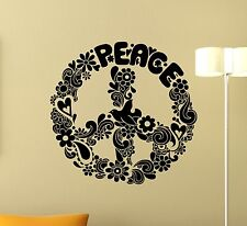 Peace Sign Wall Decal Floral Symbol Poster Vinyl Sticker Art Decor Mural 11xxx