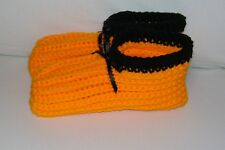 Ladies Size Handmade Crochet Slippers House Shoes-California Poppy-VHTF Color