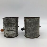 Lot 2 Antique Tin Measuring Sifter Bromwell's) 3 Cup Capacity Beautiful Patina