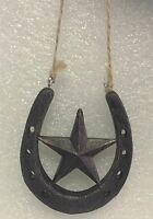 Resin Horseshoe & Texas Lone Star Ornament - Lonestar - Western Country Decor