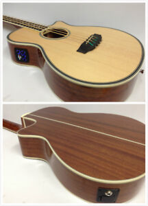 4/4 Acoustic Bass Guitar,Haze FB-711BCEQ/N 4-String,EQ,Natural+Free Gig Bag