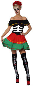 Ladies Womens Day of the Dead Fancy Dress Costume Halloween Outfit FREE POST FE