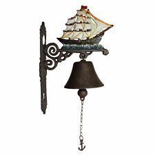 Ship Sail Boat Pirate Galleon Bell Gate Cast Iron Sign Plaque Door Wall House