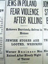 1937 newspaper JEWS Judaica HOLOCAUST Anti-Semitic riot in Brest-Litowsk POLAND