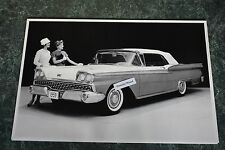 """12 By 18"""" Black & White Picture 1959 Ford Convertible Top Up"""