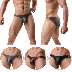 Mens Briefs Sexy Shorts Underwear Wet Look Underpants Panties Faux Leather