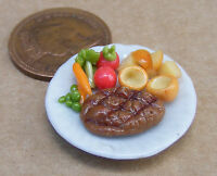 1:12 Small Roast Beef & Yorkshire On A 2.5cm Ceramic Plate Dolls House Miniature