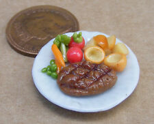 1:12 Scale Small Roast Beef & Yorkshire On A 2.5cm Ceramic Plate Dolls House