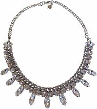 Yochi Navette Clear Crystal Drop Frontal Silver Plated Chain Necklace