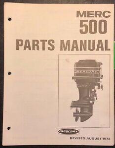 1973 MERCURY OUTBOARD MERC 500 PARTS LIST MANUAL Catalog