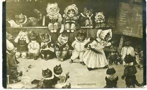 Antique THIELE Cat School Teacher Russian postcard