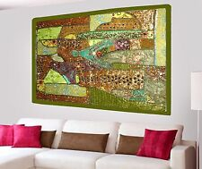 INDIA HANDMADE PATCHWORK WALL HANGING HEAVY BEADED EMBROIDERED TAPESTRY SEQUINS