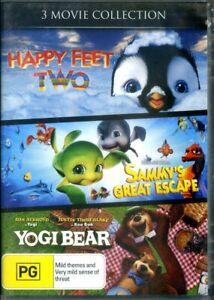 Happy Feet Two / Sammy's Great Escape / Yogi Bear (DVD, 2014, 3-Disc Set) - New