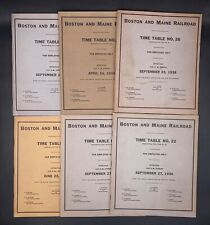 Lot Of 6 Boston & Maine Railroad Employee Time Tables & Rule Booklets 1936-1938