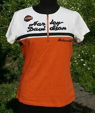 Harley Davidson Motorcycles HD L Shirt Zip Neck Biker Top Embroidered Womens