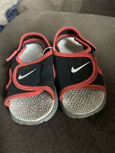 Nike Sunray Black Red Sandal Little Boys Toddler Size 6C Water Shoes