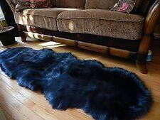 Sheepskin Luxury Rug Fluffy Soft Faux Fur Area Rug  Floor Dark Blue 2x6ft FLUFFY
