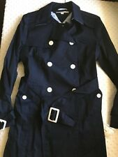 NWT Tommy Hilfiger Womens Trench Coat Size Large Navy Blue Jacket Long With Belt