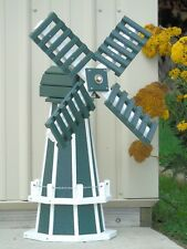 "30"" Poly lumber Dutch Windmill (Green with White trim) Decorative Lawn Ornaments"