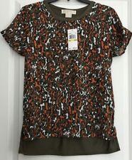 NWT Women's MICHAEL KORS 'Poppy' Crew Neck T-Shirt Size P/M Camo Print