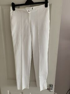 Womens White Tall Cigarette Style Trousers Size 10