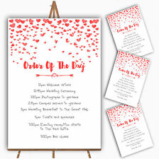 Red Heart Confetti Personalised Wedding Order Of The Day Cards & Signs