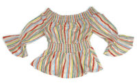 A.Calin Flying Tomato Striped Off-the-Shoulder Top Women's Size Small Smocked