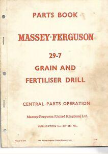 Ferguson MF 29-7 Grain &  Fertliser Drill Parts Book  ......  83 Pages ... 1965?