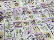 French Lavender Print Cotton Fabric Lilac Floral Curtains Upholstery 140cm wide