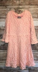 NWT JUSTICE GIRLS LACE BOW BACK DRESS PINK/PEACH 3/4 SLEEVES BELL CUFFS GIRLS 10