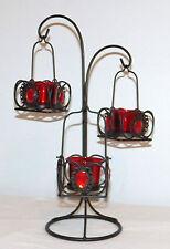 Brand New ~ REPUBLIC Black Metal 3 TEA LIGHT TREE ~ RED GLASS CANDLE CUPS 15x10
