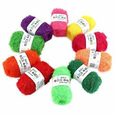 Rainbow Crochet Scrubby Yarn 10 Skeins Assorted Colors 100% Polyester