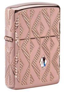 Zippo Lighter: Diamond Pattern, MultiCut Armor - Rose Gold