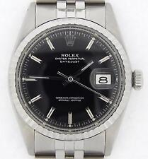 Rolex Datejust Mens Stainless Steel Engine-Turned Jubilee Black Dial Watch 1603