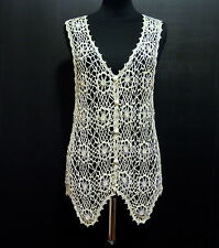 CULT VINTAGE '60 Gilet Donna Pizzo Cotton Lace Woman Waistcoat Sz.M - 44