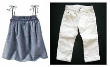 Baby Gap Porcelain hamptons white jeans capri pants chambray tank top shirt 5 6
