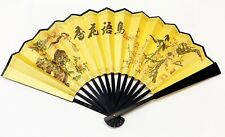 Classic Chinese Men's Hand Folding Fan With Prints Of Birds and Flowers