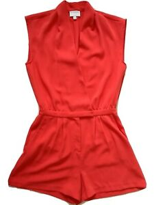 Witchery Coral Red Womens Sleeveless Collared Look Playsuit Romper - Size 8