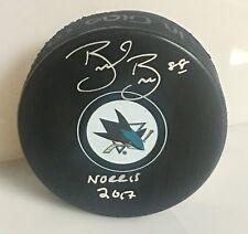 Brent Burns San Jose Sharks Signed Inscribed Hockey Puck Norris Inscription