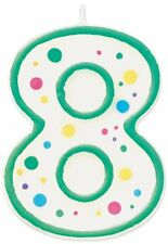 Wilton Green Polka Dots Number 8 Age Candle Children Birthday Party Decoration